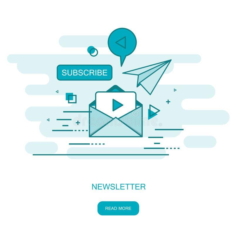 Publicación de noticias de distribución regular por correo electrónico con algunos temas de interés para sus suscriptores Ilustra ilustración del vector