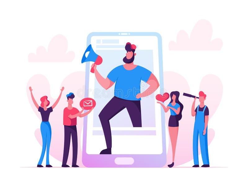 Publicando em blogs, conceito social dos trabalhos em rede dos meios Homem enorme com suporte na tela de Smartphone, transmissão  ilustração royalty free