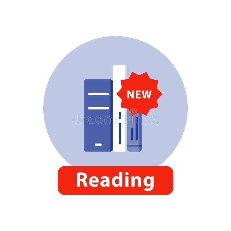 Publication de nouveau livre, histoire de best-seller, collection de bibliothèque, icône plate illustration de vecteur