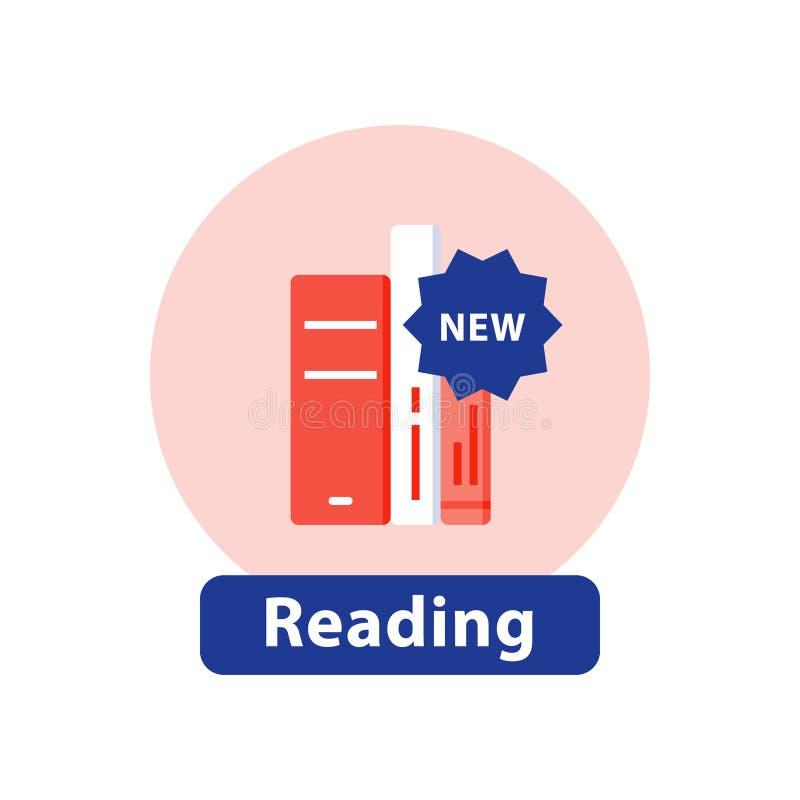 Publication de nouveau livre, histoire de best-seller, collection de bibliothèque, icône plate illustration libre de droits