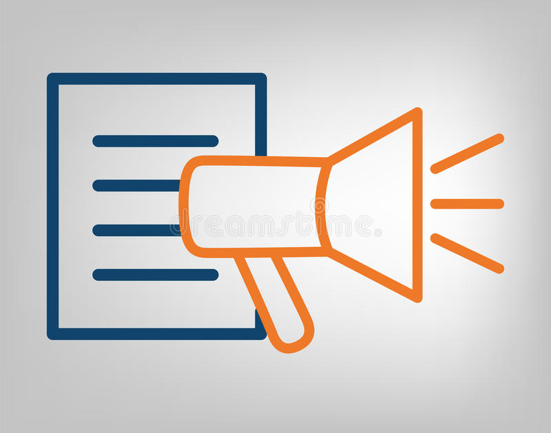 Publication icon. Megaphone with information list. Laconic blue and orange lines on gray background. Isolated vector object vector illustration