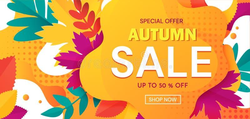 Publicidad colorida de la bandera Autumn Sale con descuentos del 50 por ciento y ofertas especiales con el texto en naranja abstr ilustración del vector
