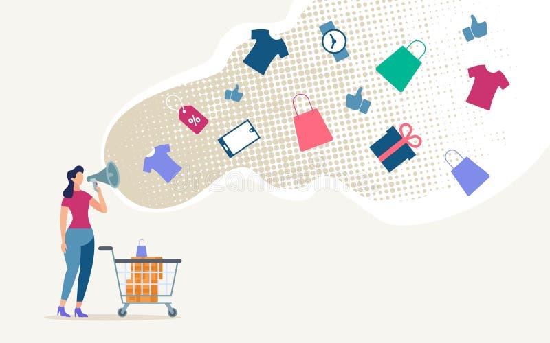 Publicidad de concepto plano en línea del vector de las ventas de la tienda libre illustration