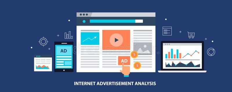 Publicidad de Internet - medios márketing pagado digital - análisis e informe de datos del márketing Bandera plana del vector del libre illustration