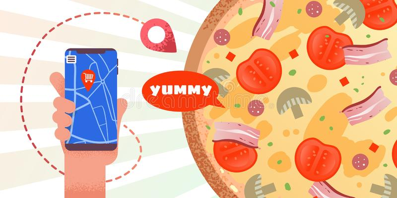 Publicidad de la bandera con orden en línea de la pizza del App ilustración del vector