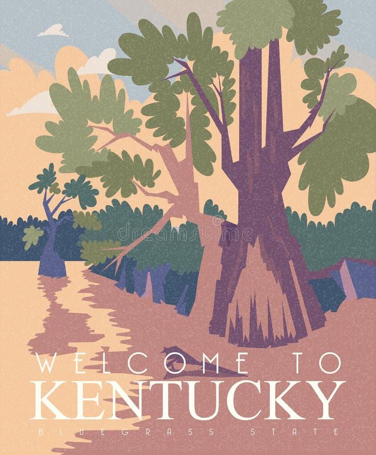 Publicidad de la bandera del vector del viaje a Kentucky, Estados Unidos fotografía de archivo