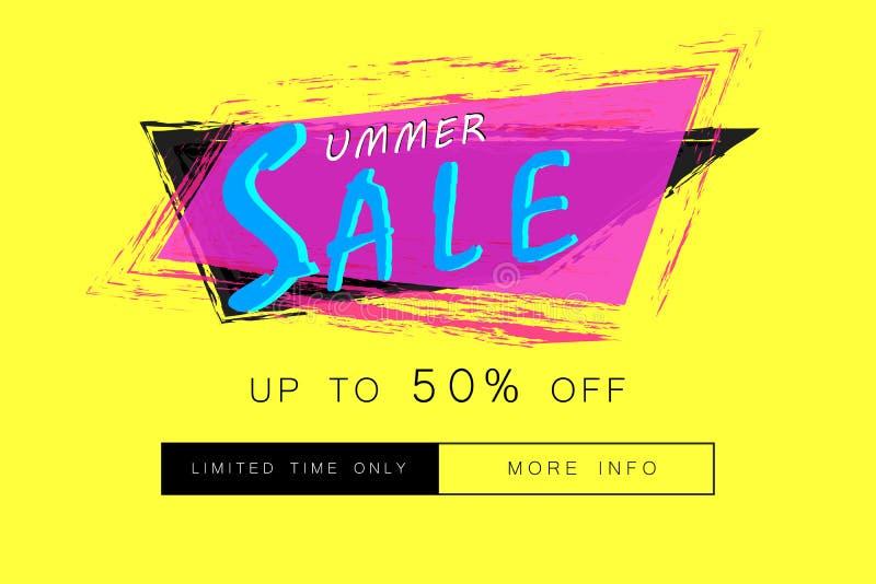 Publicidad de la bandera de la venta del verano Tenga más botón de la información stock de ilustración