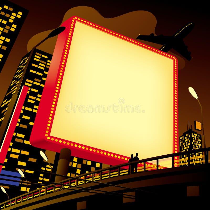 Publicidad de la cartelera en la ciudad stock de ilustración