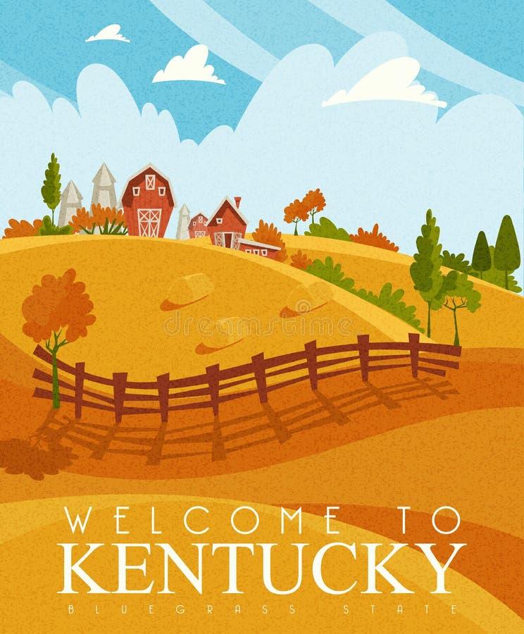 Publicidad de la tarjeta del vector del viaje a Kentucky, Estados Unidos imágenes de archivo libres de regalías