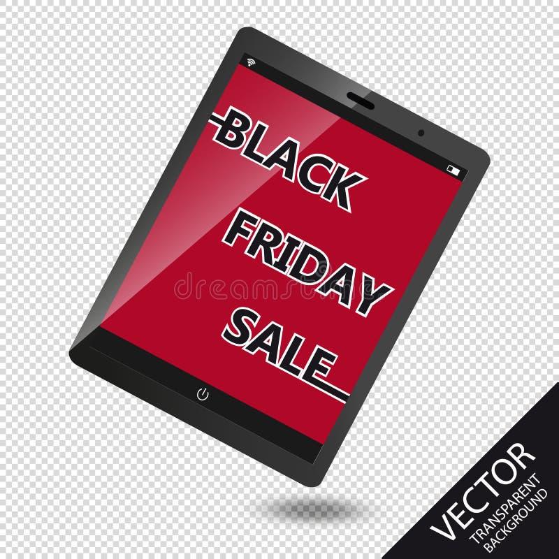 Publicidad de la venta de Black Friday en el dispositivo móvil - ejemplo del vector - aislado en fondo transparente libre illustration