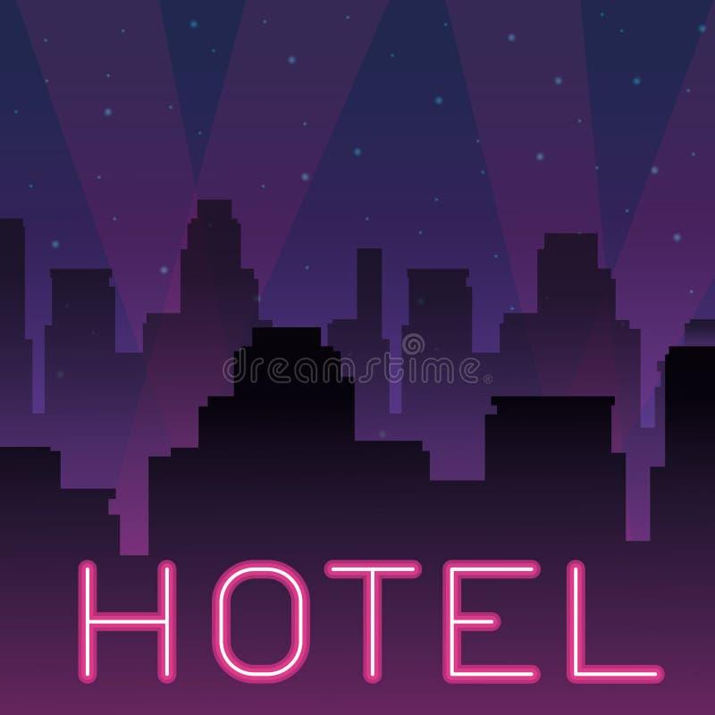 Publicidad de ne?n del hotel libre illustration