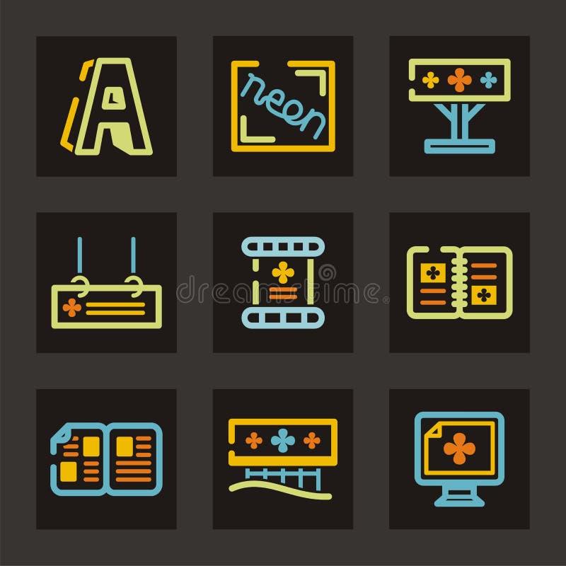 Publicidad de serie del icono stock de ilustración