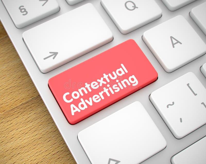 Publicidad del contexto - texto en el botón rojo del teclado 3d ilustración del vector