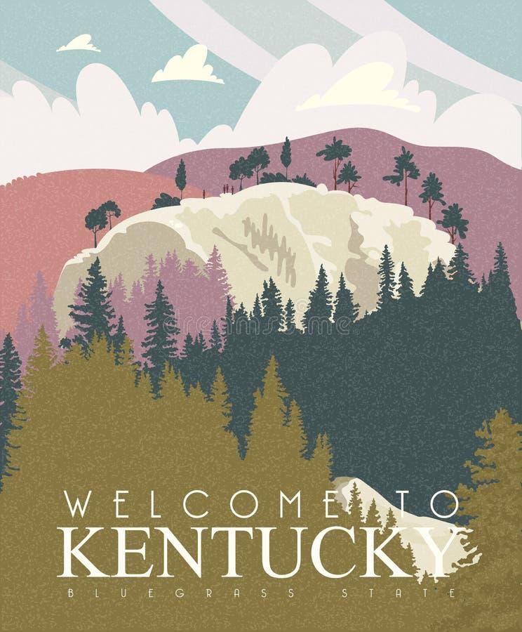 Publicidad del fondo del vector del viaje a Kentucky, Estados Unidos foto de archivo