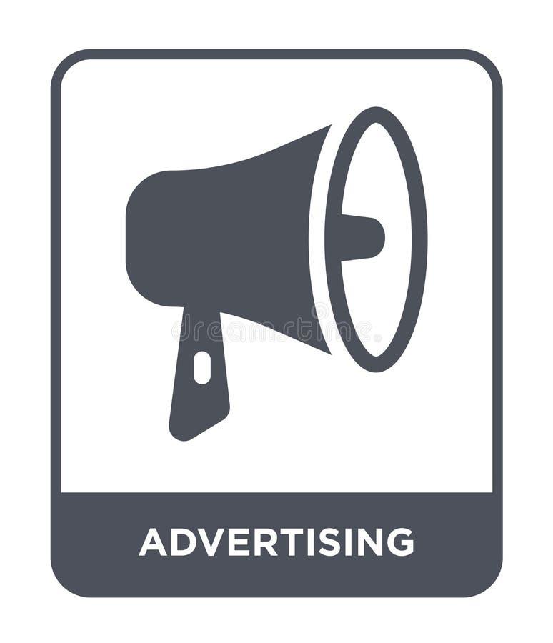publicidad del icono en estilo de moda del diseño Icono de la publicidad aislado en el fondo blanco haciendo publicidad del icono stock de ilustración