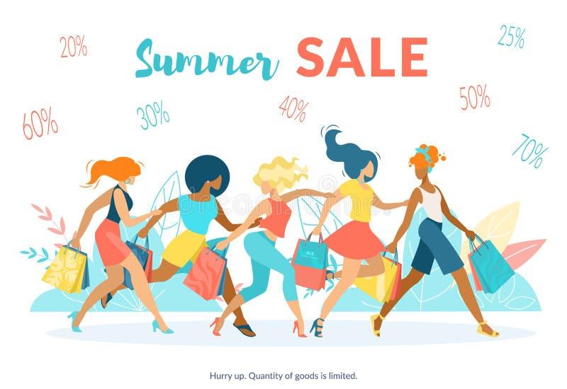 Publicidad del plano de la venta del verano de la inscripción del cartel ilustración del vector