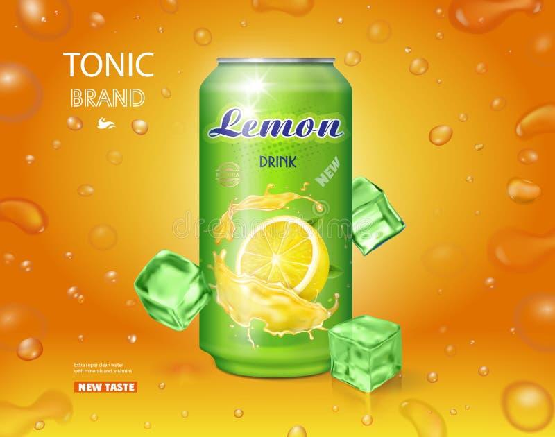 Publicidad del refresco del limón La limonada puede vector del diseño de los anuncios libre illustration