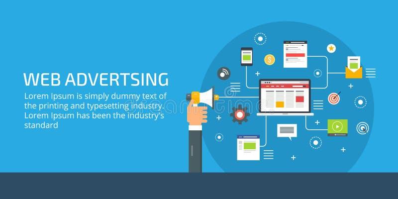 Publicidad del web, hombre de negocios que sostiene el megáfono, márketing en línea y concepto digital de la promoción Ejemplo pl ilustración del vector