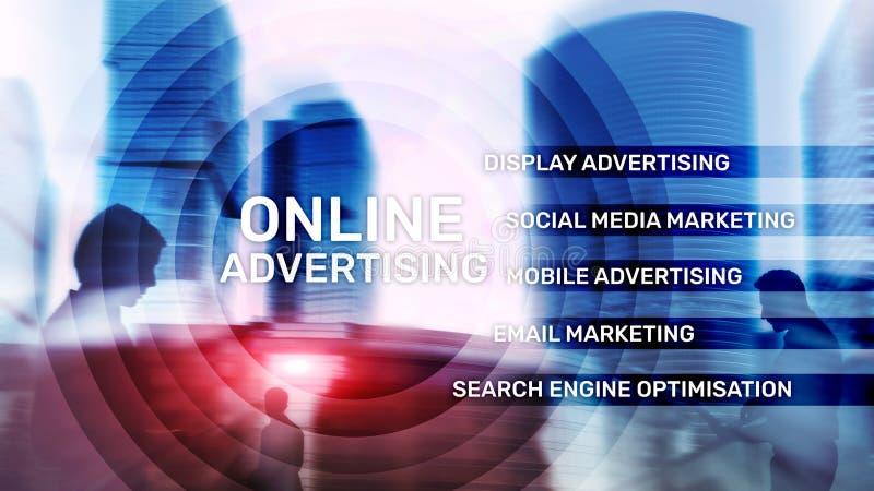 Publicidad online, márketing de Digitaces Concepto del negocio y de las finanzas en la pantalla virtual ilustración del vector