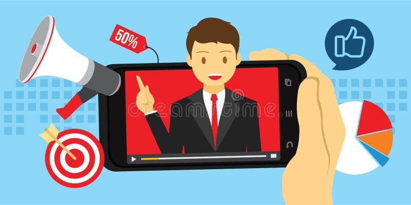 Publicidad video del márketing con el contenido viral libre illustration