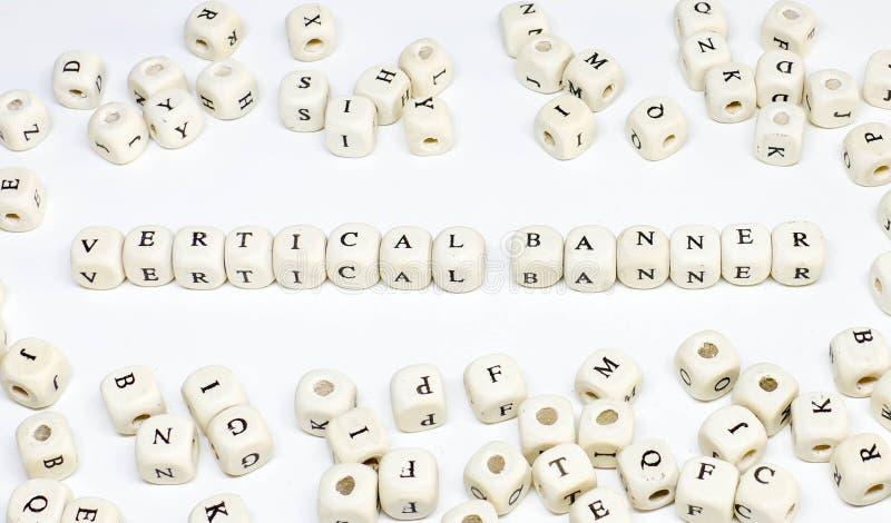 Publicidade online publicando em blogs do e-mail do comércio eletrónico e bandeira vertical de madeira social do ABC do termo de  fotografia de stock