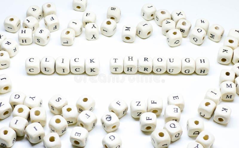 Publicidade online publicando em blogs do e-mail do comércio eletrónico e clique de madeira social do ABC do termo de mercado dos fotografia de stock