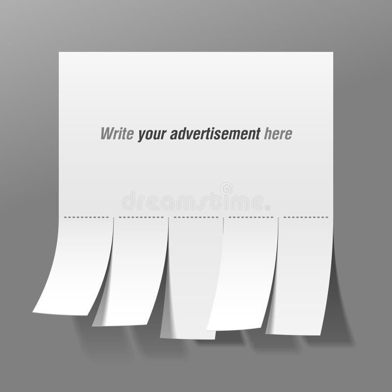 Publicité blanc avec des glissades de coupure illustration libre de droits