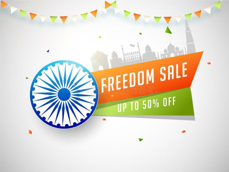 Publicité Conception d'affiches ou de bannières 50% de réduction avec Ashoka Chakra et le célèbre monument indien illustration de vecteur