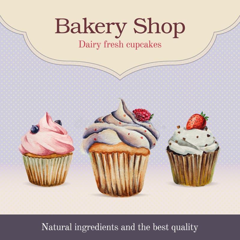 Publicité de boutique de boulangerie d'aquarelle avec le petit gâteau illustration de vecteur