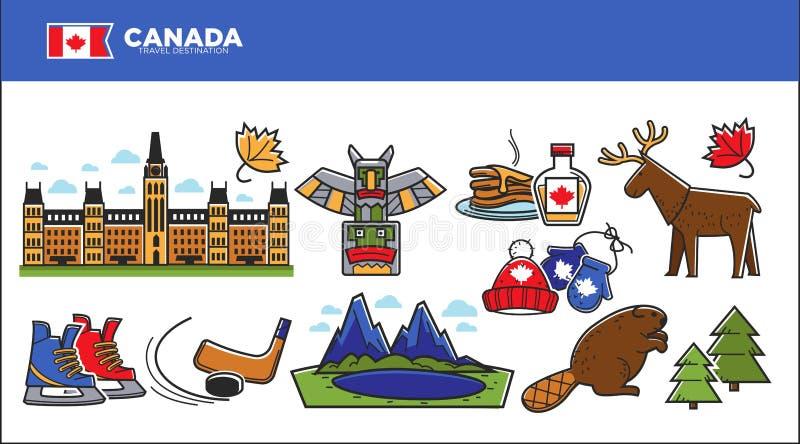 Publicité de destination de voyage de Canada avec l'ensemble de symboles de pays illustration de vecteur
