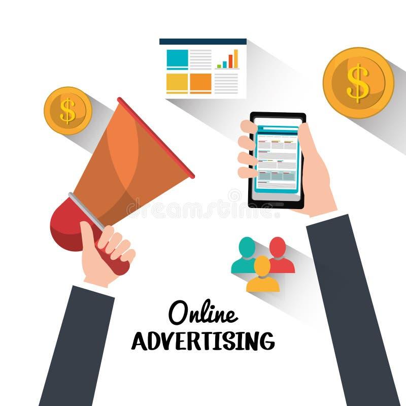 Publicité en ligne et vente numérique illustration stock