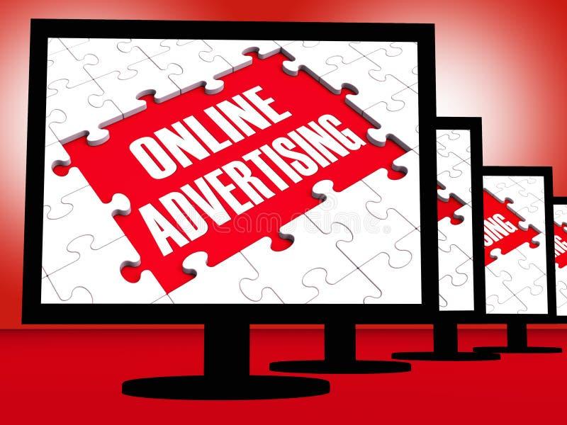 Publicité en ligne sur des moniteurs montrant des stratégies marketing illustration libre de droits