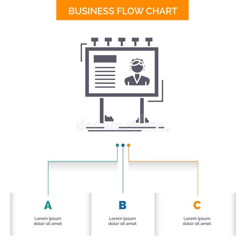 publicité, la publicité, panneau d'affichage, affiche, conception d'organigramme d'affaires de conseil avec 3 étapes Icône de Gly illustration stock