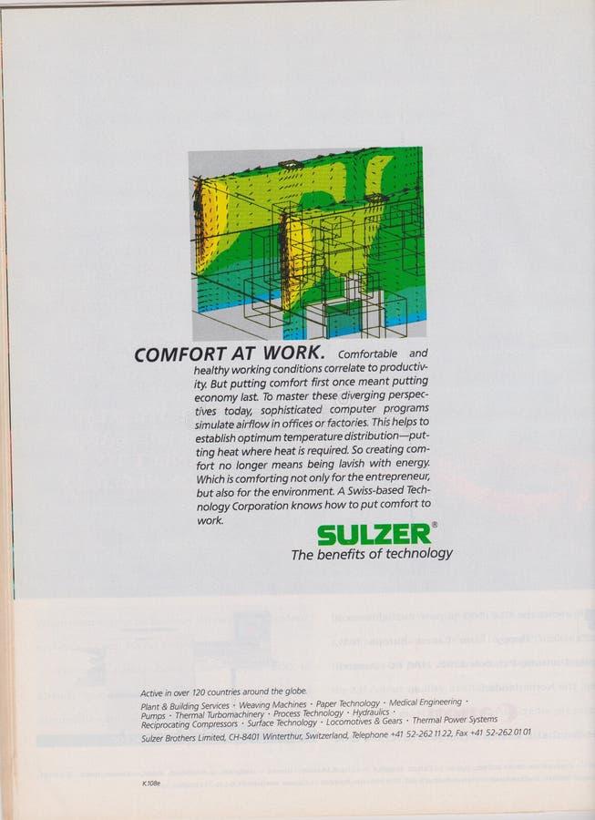 Publicité par affichage Sulzer en magazine à partir de 1992, confort au travail, les avantages du slogan de technologie photographie stock libre de droits