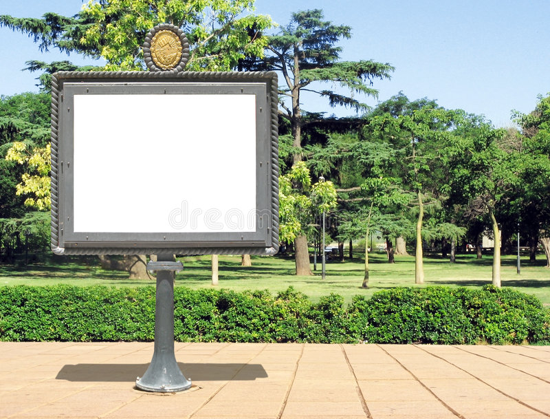 Publicity board on a park royalty free stock images