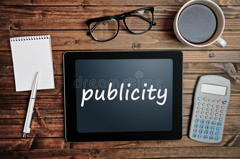 Publicity word on tablet pc royalty free stock photos