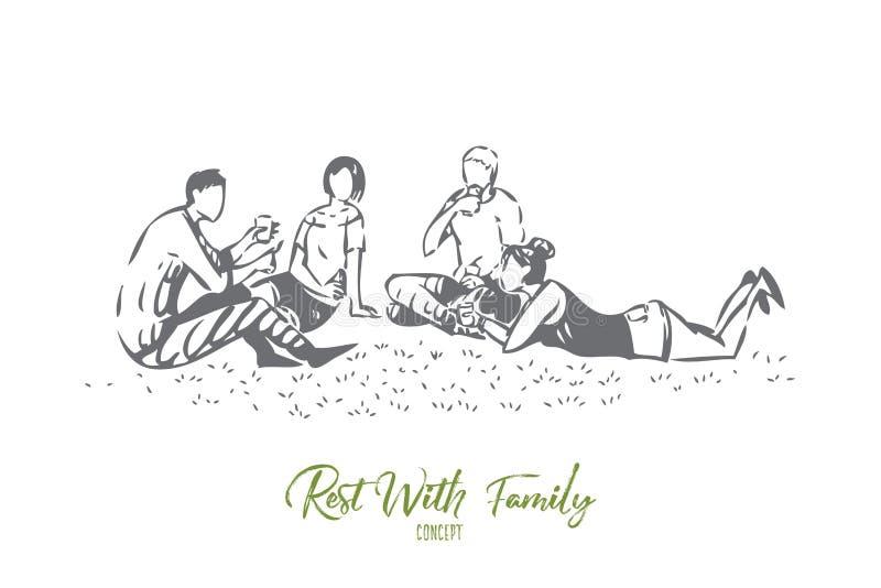 Publiczny występ z rodzinnego pojęcia nakreśleniem Odosobniona wektorowa ilustracja royalty ilustracja