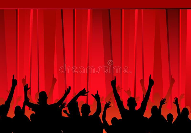 Publiek & Rode gordijnen stock illustratie