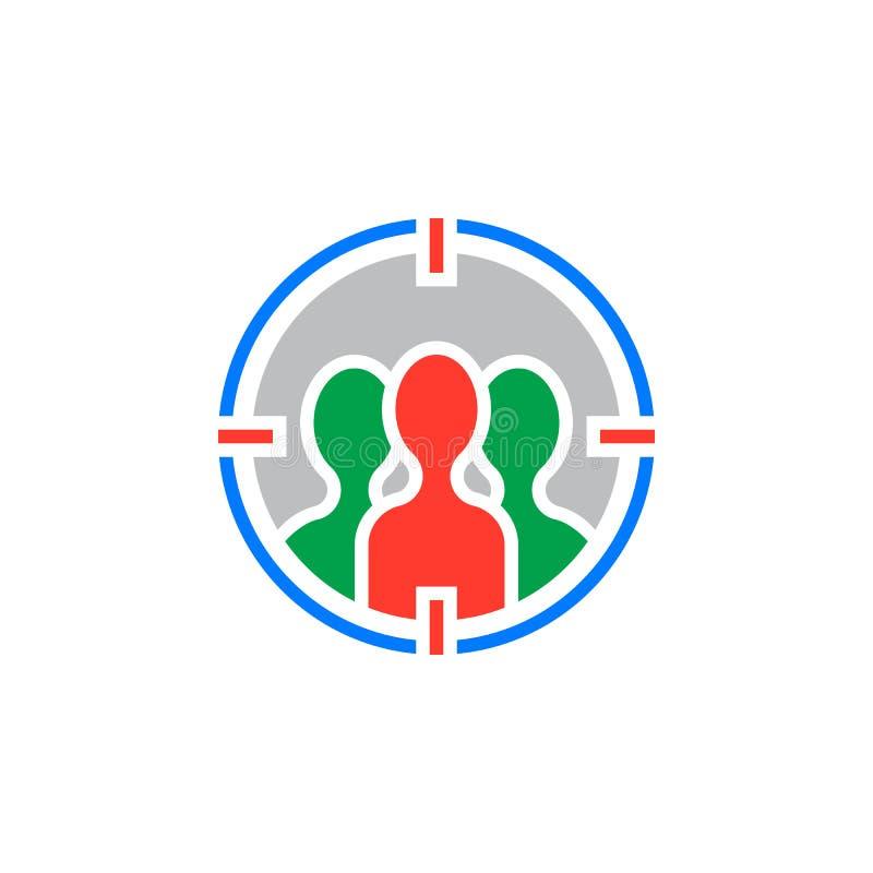 Publiek die pictogram vector, gevuld vlak teken, kleurrijk vast lichaam richten stock illustratie