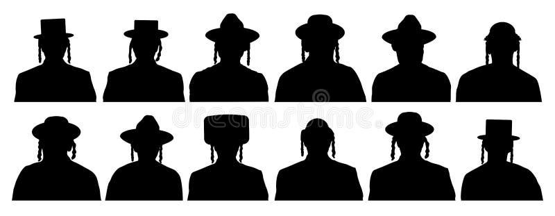 Publiek van de gekozen mensen van de God Joodse hoofdprofielavatar pictogrammen Israelitisch mensenportret Silhouetvector stock illustratie