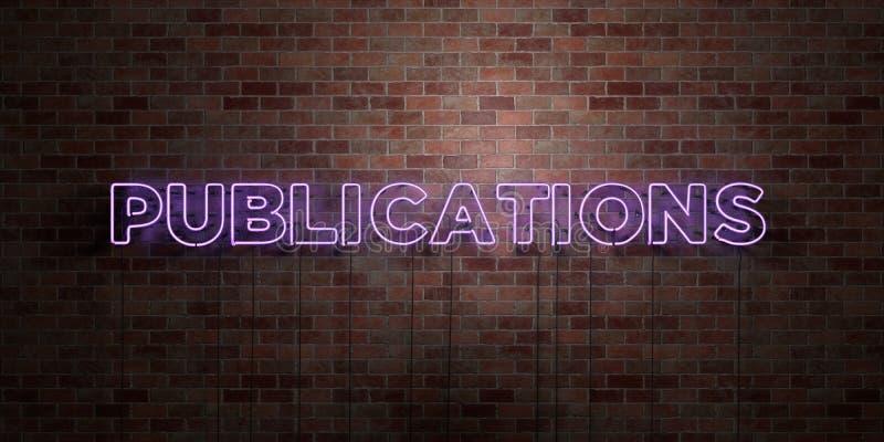 PUBLIKATIONER - fluorescerande tecken för neonrör på murverk - främre sikt - 3D framförd fri materielbild för royalty vektor illustrationer