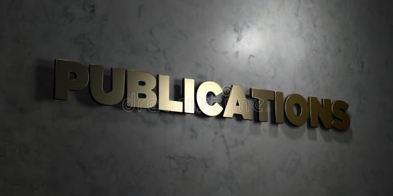 Publikationer - guld- text på svart bakgrund - 3D framförd fri materielbild för royalty stock illustrationer