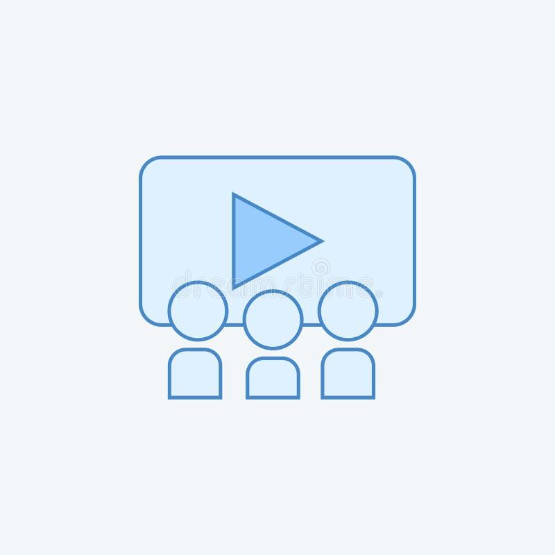 Publikum in farbiger Linie Ikone des Raumkinos 2 Einfache dunkle und hellblaue Elementillustration Publikum in Raumkino-Konzept o stock abbildung