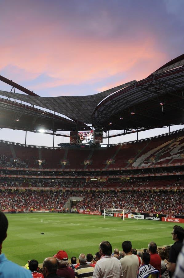 Publikum am Fußball-Stadion stockfoto