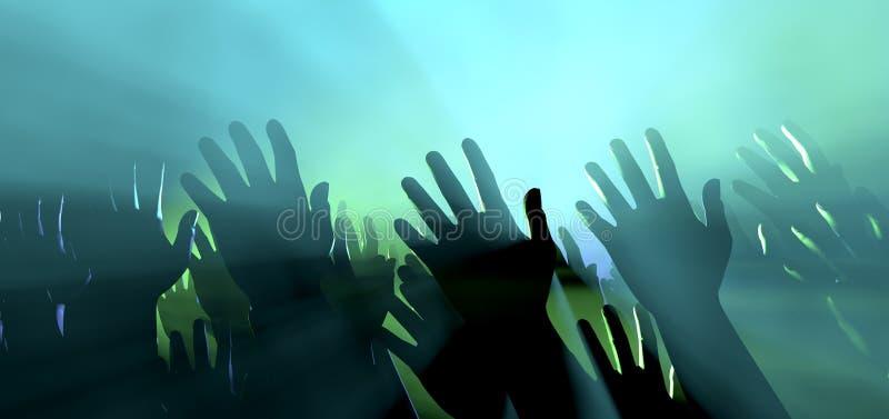 Publikums-Hände und Lichter am Konzert stockfotografie