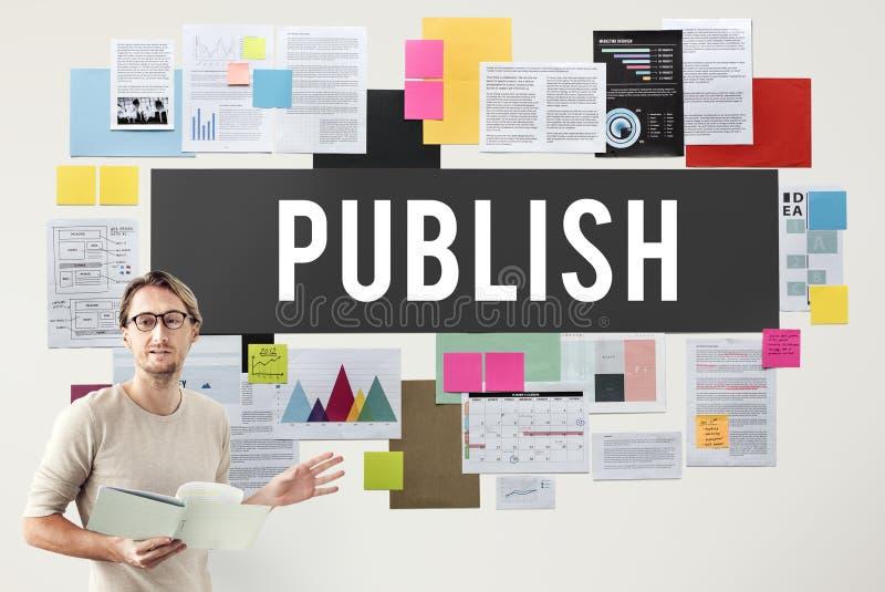 Publique o artigo que o produto satisfeito do cargo dos meios escreve o conceito fotos de stock