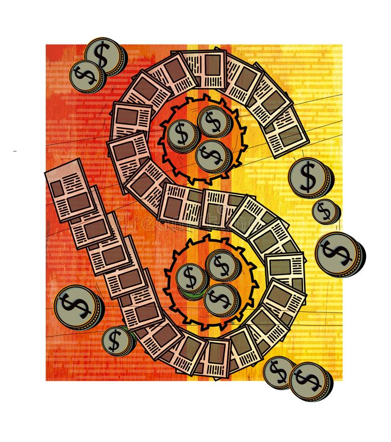 Publishing business. A dollar sign in the form of a tape from newspapers. gears, coined by dollar coins. Against the background of. A mahogany texture vector illustration