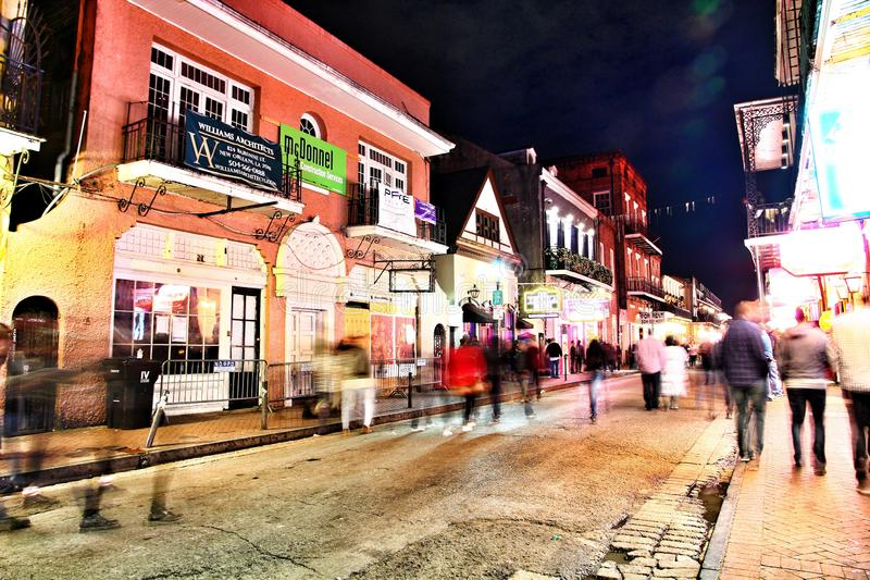 Pubs and bars with neon lights in the French Quarter, New Orleans Louisiana royalty free stock images