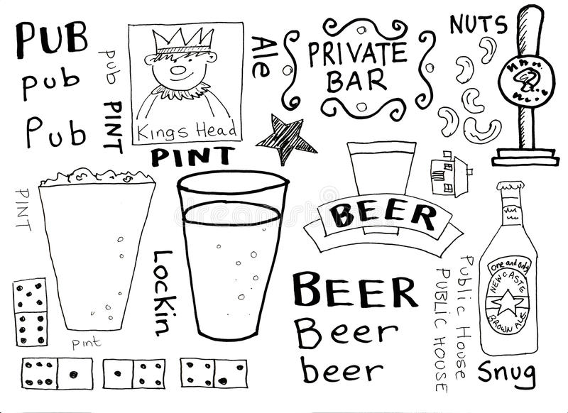 Pubs and Beer Doodles royalty free illustration