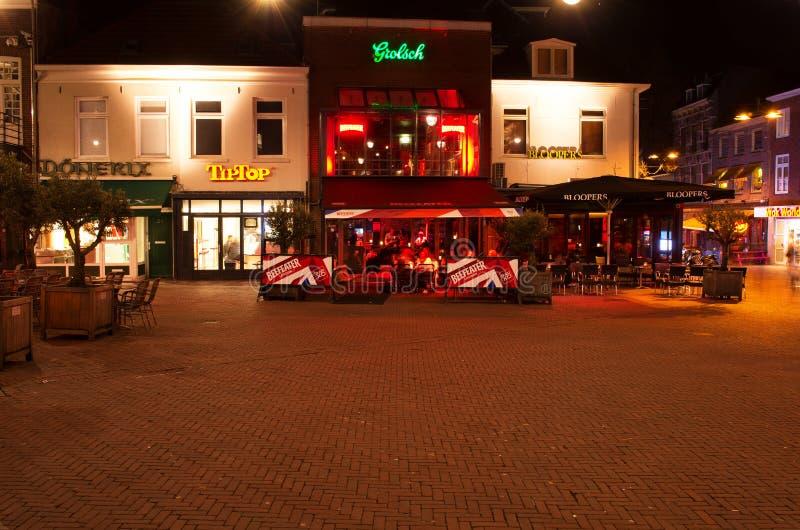 Pubs at night. Korenmarkt Arnhem royalty free stock images
